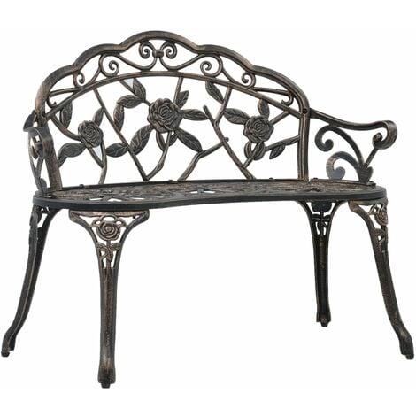 "main image of ""vidaXL Bistro Bench 100cm Bronze Cast Aluminium - Brown"""