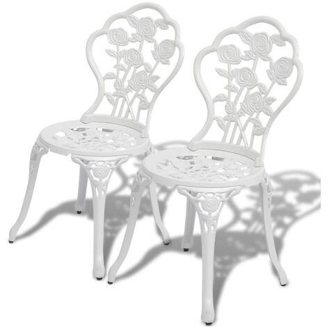 Bistro Chairs 2 pcs Cast Aluminium White