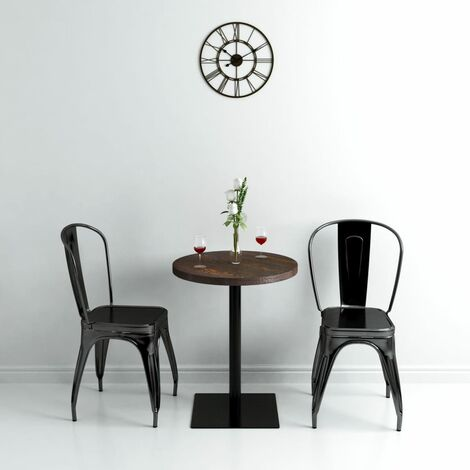 vidaXL Bistro Table MDF and Steel French Table Home Garden Terrace Bar Coffee Shop Restaurant Round/Square Multi Sizes Dark Ash/Oak Colour