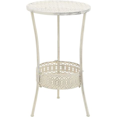 "main image of ""vidaXL Bistro Table Vintage Style Round Metal 40x70 cm White - White"""