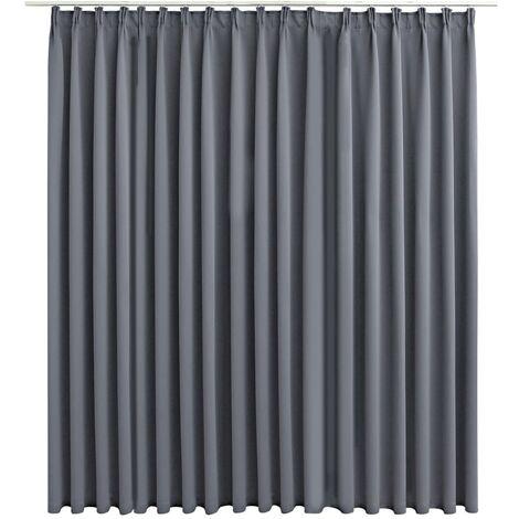 vidaXL Blackout Curtain with Hooks Grey 290x245 cm - Grey