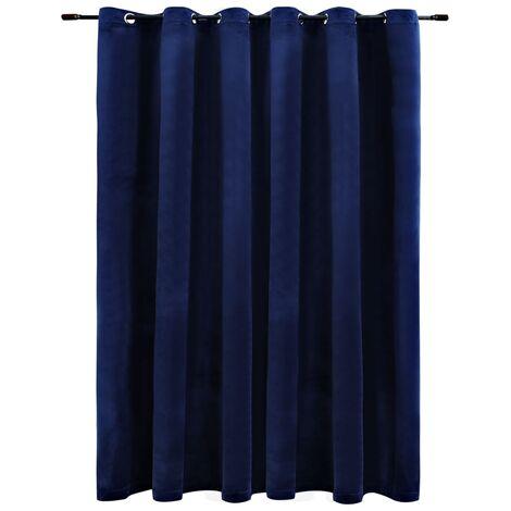 "main image of ""vidaXL Blackout Curtain with Metal Rings Velvet Dark Blue 290x245 cm - Blue"""