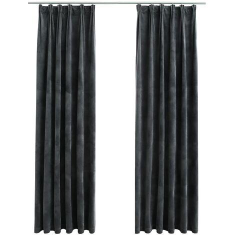 vidaXL Blackout Curtains 2 pcs with Hooks Velvet Anthracite 140x175 cm - Grey