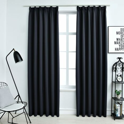 vidaXL Blackout Curtains with Hooks 2 pcs Anthracite 140x225 cm - Grey