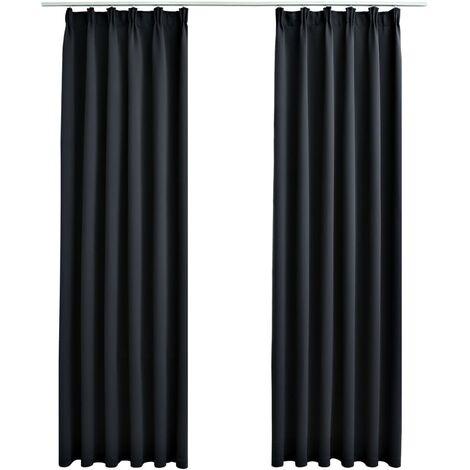 vidaXL Blackout Curtains with Hooks 2 pcs Black 140x175 cm - Black