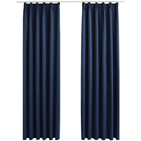 vidaXL Blackout Curtains with Hooks 2 pcs Blue 140x175 cm - Blue