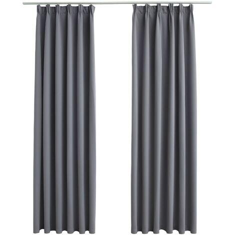 vidaXL Blackout Curtains with Hooks 2 pcs Grey 140x225 cm - Grey
