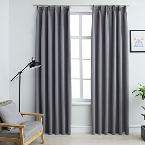 vidaXL Blackout Curtains with Hooks 2 pcs Grey 140x245 cm - Grey