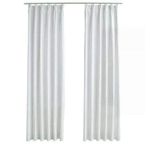 vidaXL Blackout Curtains with Hooks 2 pcs Off White 140x175 cm - White