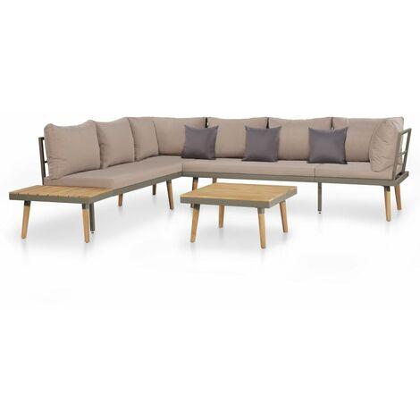 vidaXL Bois d'Acacia Massif Ensemble de Canapé de Jardin Acier Meubles de Terrasse Mobilier de Patio Moderne Sofa de Balcon Naturel/Marron