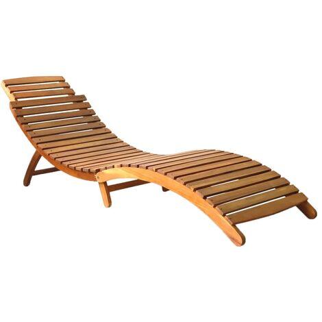 vidaXL Bois d'Acacia Solide Chaise Longue de Jardin Chaise Longue de Terrasse Chaise Longue de Patio Meubles d'Extérieur Marron/Gris Foncé