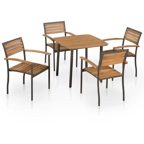 vidaXL Bois d'Acacia Solide Mobilier à Dîner d'Extérieur Acier Salon de Jardin Ensemble de Salle à Manger Table et Chaises de Patio 5/7/9 pcs