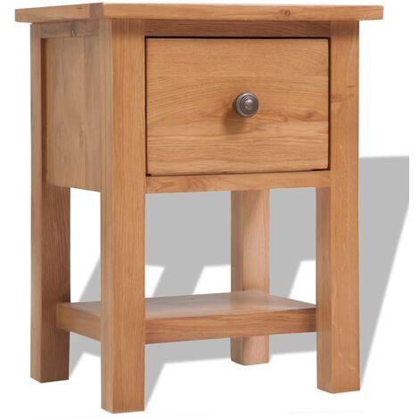 vidaXL Bois de Chêne Massif Mobilier de Salon Table de Chevet Etagère d'Angle Table Console Buffet Commode Armoire de Rangement Intérieur