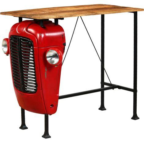 vidaXL Bois de Manguier Massif Table de Bar Rouge Tracteur Table de Salle à Manger Dîner Repas Cuisine Maison Intérieur Multi-taille
