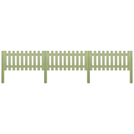 vidaXL Bois de Pin Imprégné Clôture à Piquets Panneau de Clôture Barrière Décorative Parterres de Fleurs Jardin Patio Extérieur Multi-taille