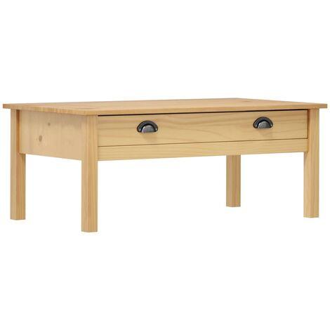 vidaXL Bois de Pin Solide Table Basse Table d'Appoint Table de Canapé avec 1 Tiroir Salon Salle de Séjour Maison Intérieur Meubles Multicolore
