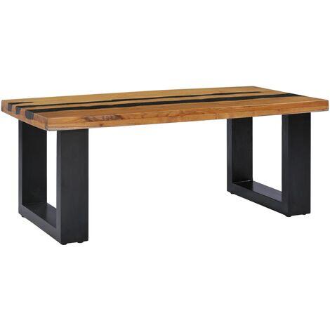 vidaXL Bois de Teck Massif Table Basse Table d'Appoint Table de Salon Bout de Canapé Table de Canapé Maison Salle de Séjour Modèles Divers