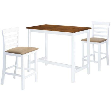 vidaXL Bois Massif Table et Chaises Table de Salle à Manger Meubles de Salle à Manger Mobilier de Salon Moderne Cuisine 3/5 pcs Multicolore