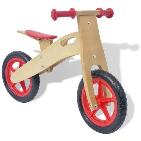vidaXL Bois Vélo d'Equilibre Bicyclette pour Enfants Garçons Filles Extérieur Equilibre Coordination Contrôle de la Vitesse Rouge/Bleu