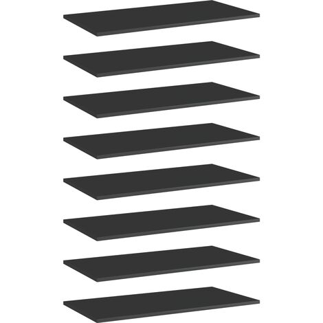 "main image of ""vidaXL Bookshelf Boards 8 pcs High Gloss Black 80x40x1.5 cm Chipboard - Black"""