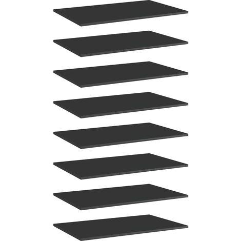 "main image of ""vidaXL Bookshelf Boards 8 pcs High Gloss Black 80x50x1.5 cm Chipboard - Black"""