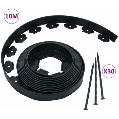"""main image of """"vidaXL Borde de césped flexible con 30 estacas 10 m 5 cm - Negro"""""""