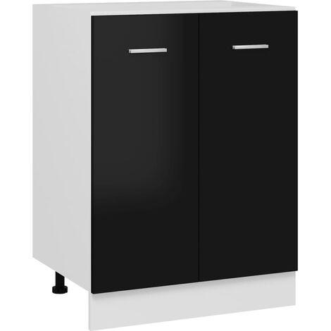 vidaXL Bottom Cabinet High Gloss Black 60x46x81.5 cm Chipboard - Black