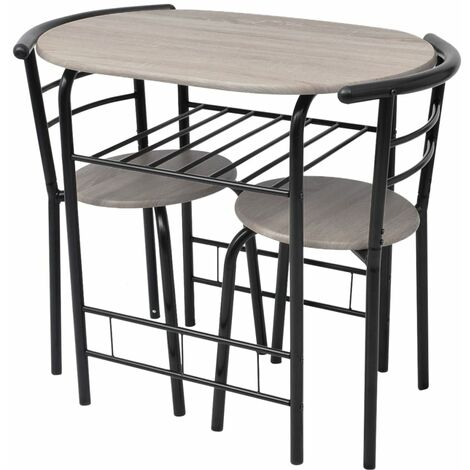 vidaXL Breakfast Bar Set 3 Piece Kitchen Dining Room Furniture Garden Patio Outdoor Dining Dinner Table Stools Chairs MDF Black/Silver