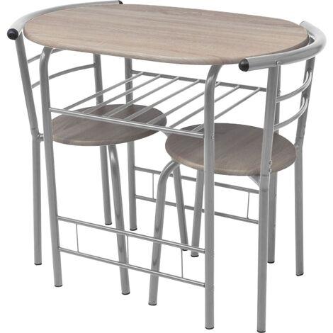 vidaXL Breakfast Bar Set 3 Piece Kitchen Dining Room Furniture Garden Patio Outdoor Dining Dinner Table Stools Chairs MDF Black/Silver