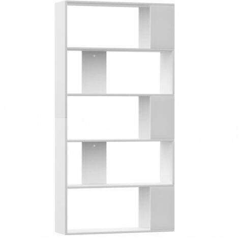 vidaXL Bücherregal Raumteiler mit 5 großen Fächern Wandregal Standregal Aktenregal Raumtrenner Büroregal 80x24x159cm Spanplatte mehrere Auswahl