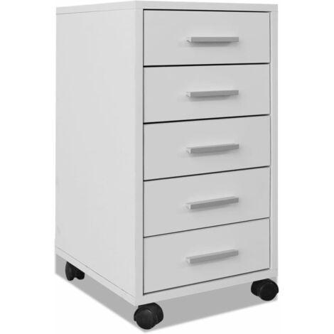 vidaXL Büro Schubladenschrank mit Rollen 5 Schubladen Bürocontainer Rollcontainer Schubladenelement Rollwagen Büroschrank Weiß/Eiche