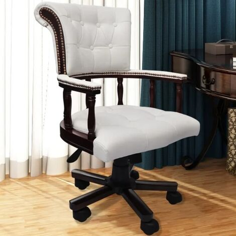 vidaXL Bürodrehstuhl Chefsessel Schreibtischstuhl Drehstuhl Bürosessel Computerstuhl Sessel Drehbarer Bürostuhl Büromöbel Ledermischgewebe Weiß/Braun