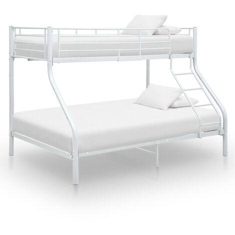 vidaXL Bunk Bed Frame Metal 140x200 cm/90x200 cm Black - Black
