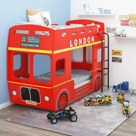 """main image of """"vidaXL Bunk Bed London Bus Red MDF 90x200 cm - Red"""""""