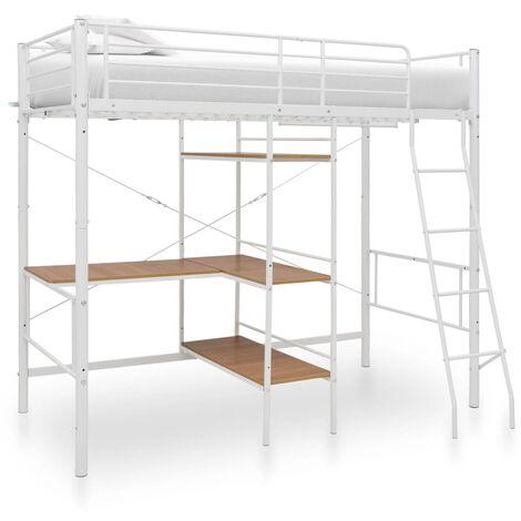 vidaXL Bunk Bed with Table Frame Metal 90x200 cm Grey - Grey