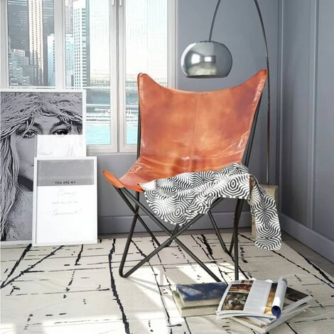 """main image of """"vidaXL Butterfly Chair Living Room Furniture Curved Backrest Sleeper Chair Lounge Seating Side Seat Real Leather/Chindi Fabric Multi Colours"""""""