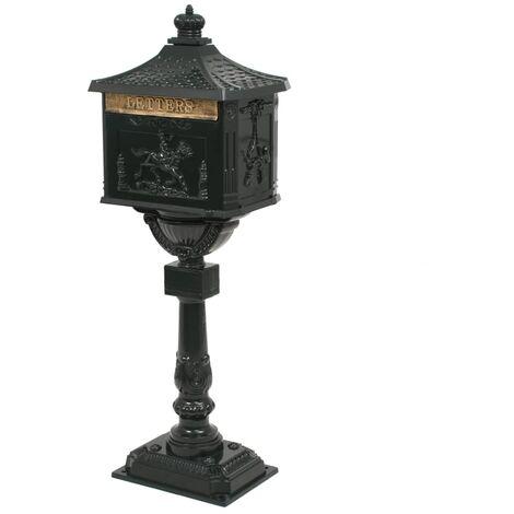 vidaXL Buzón de Pedestal Estilo Vintage de Pie Cartas Jardín Patio al Aire Libre Exterior Terraza de Aluminio Inoxidable Verde/Blanco
