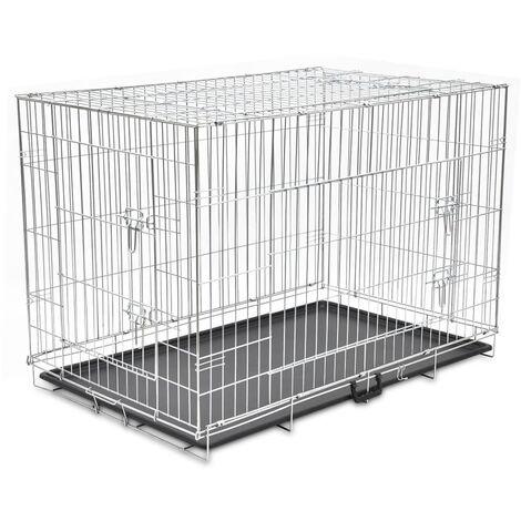 vidaXL Cage Pliable pour Chien Métal Cage de Transport Chenil Maison pour Chien Niche Confortable pour Chiens Dimensions Diverses
