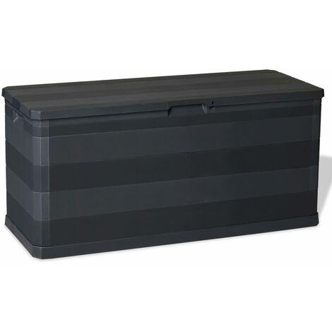vidaXL Caja de Almacenamiento Jardín 280 L Cofre Almacenaje Negra/Gris Claro