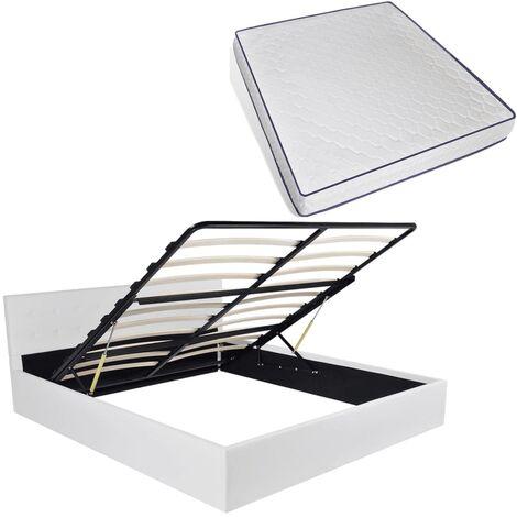 vidaXL Cama Canapé con Colchón Muebles Dormitorio Habitación Matrimonio Cómodo Moderna Ergonómico Cuero Artificial Blanca Multitalle Multimodelo