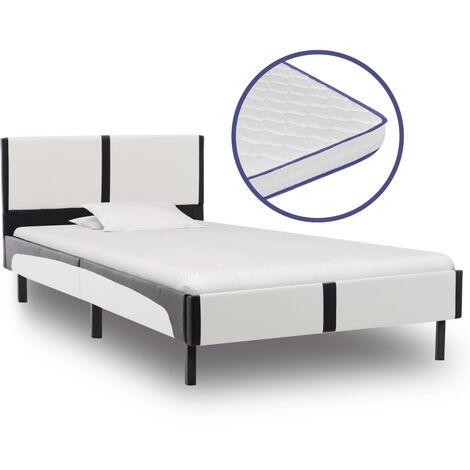 vidaXL Cama con Colchón Viscoelástico Mobiliario Dormitorio Accesorios Discreto Clásico Elegante Robusta Duradera Cuero Sintético Multitalle