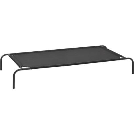 vidaXL Cama de perros elevada negro talla XL textilene - Negro