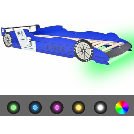 vidaXL Cama Infantil con Forma de Coche Carreras y LED Muebles Mobiliario para Habitación Dormitorio Dormir Individual 90x200 cm Multicolor
