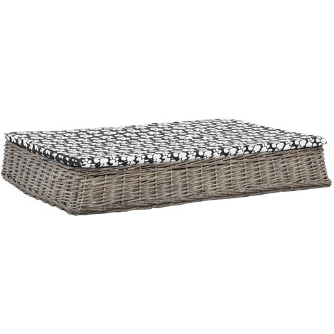 vidaXL Cama para perros y cojín plana sauce natural gris 110x75x15 cm - Gris