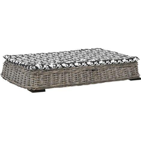 vidaXL Cama para perros y cojín plana sauce natural gris 95x65x15 cm - Gris
