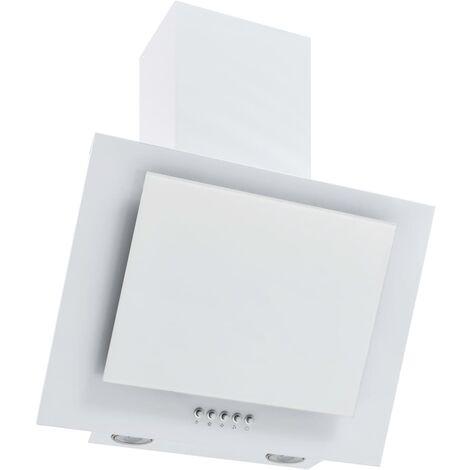 vidaXL Campana extractora acero inoxidable vidrio templado blanco 60cm - Blanco