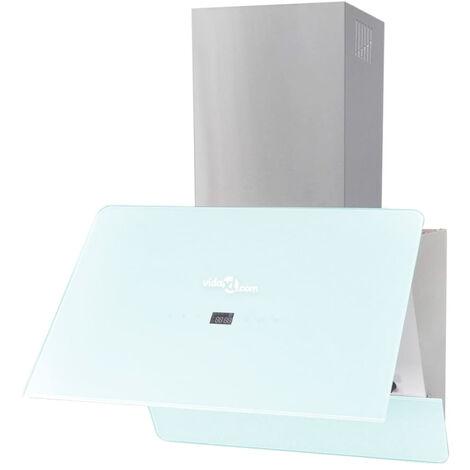 vidaXL Campana extractora cristal templado blanco 600 mm