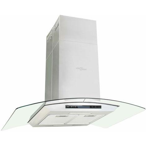vidaXL Campana extractora de techo 90 cm pantalla táctil 756 m³/h LED - Plateado