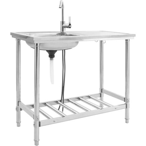 vidaXL Camping Sink Single Basin with Tap Stainless Steel - Silver