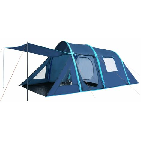 vidaXL Camping Tent with Inflatable Beams Hiking Canopy Blue/Blue and Green